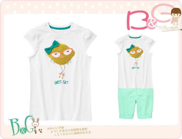 【B& G童裝】正品美國進口GYMBOREE 亮片娃娃白色短袖上衣7號6-7yrs