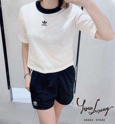 【Luxury】Adidas Originals 運動套裝 短袖 短褲 三色 彈性 女款 水藍 黑 白 三葉草
