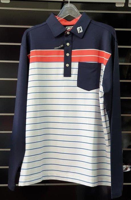 (易達高爾夫) 全新原廠FOOTJOY 21914 #L號 深藍/紅白橫條 男長袖上衣