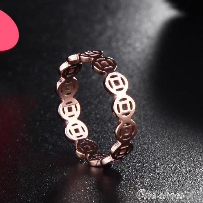 日正韓轉運招財銅錢幣戒指女鈦鋼鍍18k玫瑰金彩金指環情侶戒指