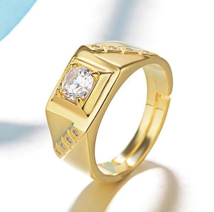 日韓時尚砂金男款斜紋鋯石水鑽可調式開口戒指情人節禮物生日禮物買一送二