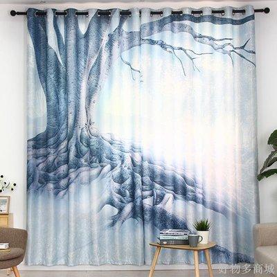 好物多商城 訂製成品窗簾現代簡約數碼印刷客廳臥室書房落地窗大氣北歐風大樹