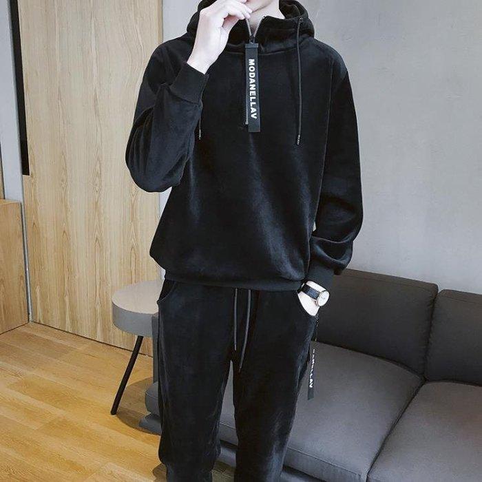 衛衣男冬季連帽休閒運動服青少年韓版潮流加絨加厚雙面金絲絨套裝 【FOLLOW ME】