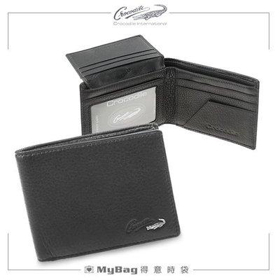 Crocodile 鱷魚 皮夾 時尚簡約 5卡窗格短夾 上翻 黑色 0103-07403 得意時袋