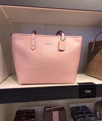 (Outlet特惠)COACH 58846 新款女士防刮牛皮拉鏈托特包 手提購物袋 附購買證明