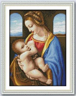 新款 聖母與聖子 基督天主教 歐式客廳掛畫 100%精準印布