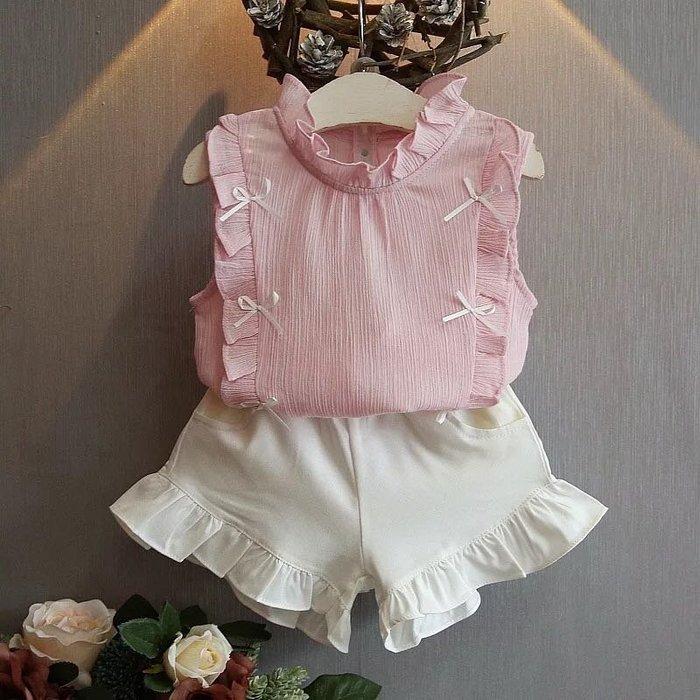 ✿荳荳小舖✿ 現貨⚽ 韓版 蝴蝶結荷葉邊上衣 粉色下單區