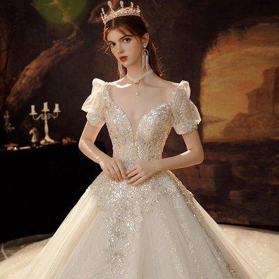法式主婚紗禮服新款拖尾氣質新娘小個子森系超仙奢華高端