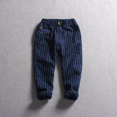 【Mr. Soar】 **清倉** D342 冬季新款 歐美style童裝男童直條紋加絨牛仔褲長褲 現貨