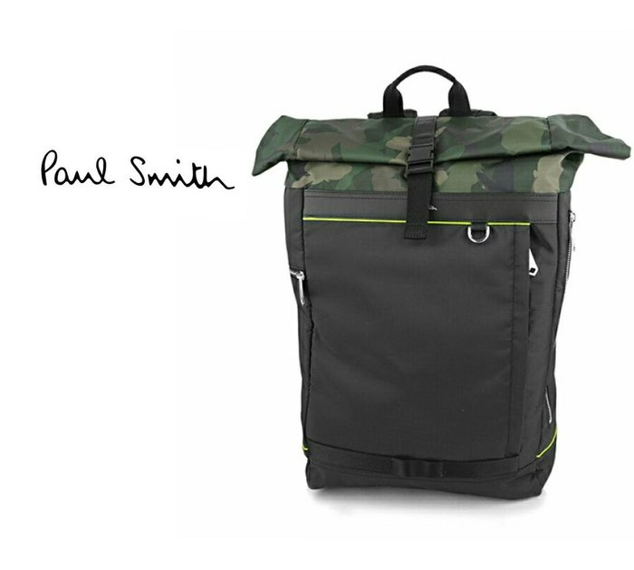 Paul Smith ► (軍綠色迷彩圖案×黑色)  尼龍帆布 捲蓋 後背包 旅行包 中性款|100%全新正品|特價