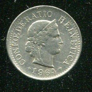 Switzerland(瑞士硬幣),5-RAP,K26,1964,品相極美