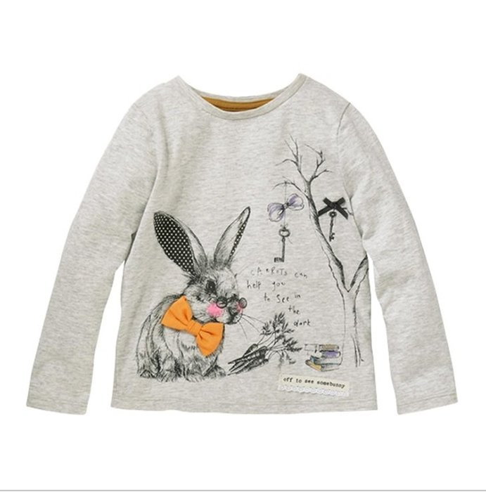 ☆草莓花園☆BST-51196森林小兔 歐美風兒童長袖衣服 純棉童T 女童  童T恤