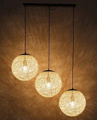 《藥妝美研社》北歐風個性裝飾創意球型燈 圓形燈 現代簡約麻繩燈(1顆米白色 35CM)