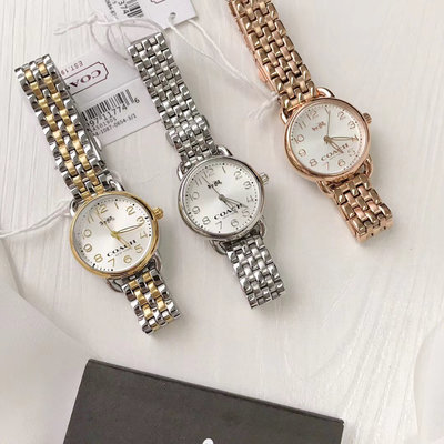 DanDan代購 美國正品 COACH 女士石英手錶 簡單時尚 圓形女款精鋼鋼帶 附購買憑證
