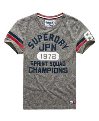 Superdry Stores Trackster Sprint T Shirt 鳳凰沙礫灰 黃金size:L