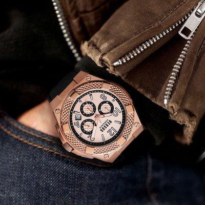 手錶Versace范思哲/Versus范瑟絲男士手表三眼多功能時尚腕表小牛皮經典大表盤手表男 VSPEW0319【吉列剃須刀】