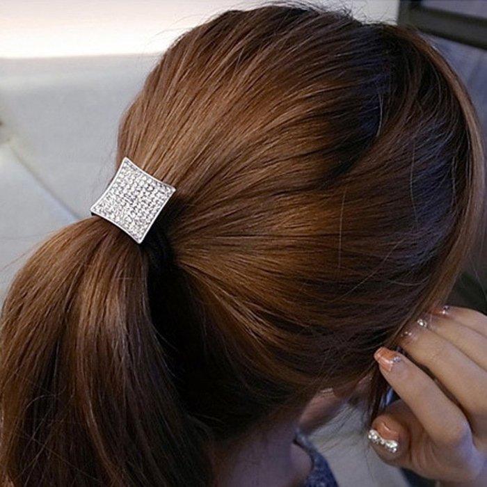 方形水鑽 髮束 髮繩 頭繩 彈力 皮筋髮束 滿滿水鑽