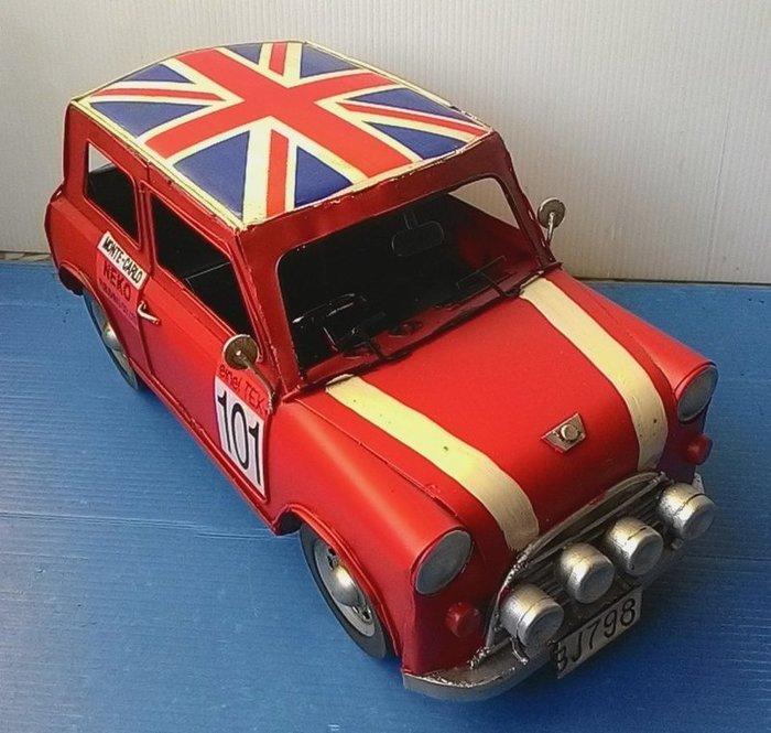 @3C 柑仔店@聖誕 交換 禮物 鐵製 奧斯丁小汽車 英國國旗 米字旗 紅 鐵皮 汽車 模型 家居飾品 懷舊 復古