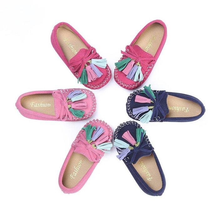 兒童豆豆鞋女真皮公主鞋潮小童單鞋寶寶鞋--紫色薇洋