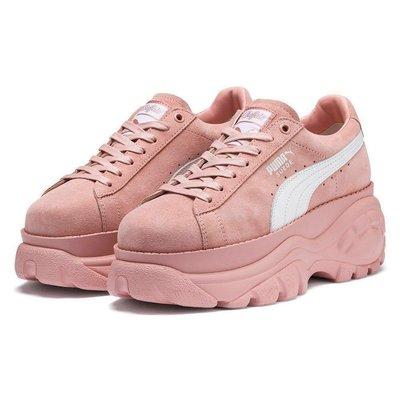 =CodE= PUMA SUEDE CLASSIC X BUFFALO 麂皮增高厚底鞋(粉紅白)368499-05 預購