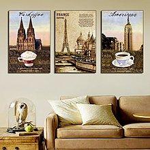 名建築美式無框畫現代客廳沙發背景裝飾畫書房牆壁掛畫家居版畫豎(3款可選)