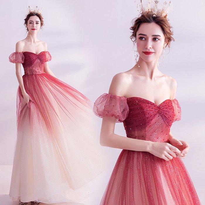 妞妞 婚紗禮服~法式漸變色紅婚紗宴會婚纱長禮服~3件免郵