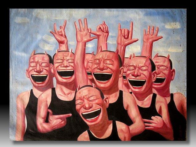 【 金王記拍寶網 】U1504  岳敏君款 手繪原作 油畫一張 (大張) 罕見 稀少 藝術無價~