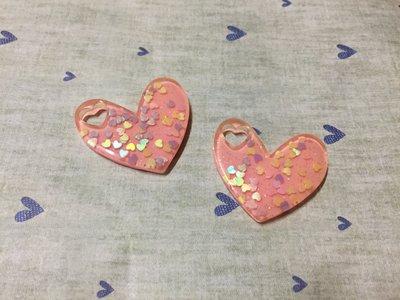 40mm*35mm 粉紅 金蔥愛心壓克力 愛心造型DIY素材 奶油殼 貼鑽小物 飾品材料 (現貨)
