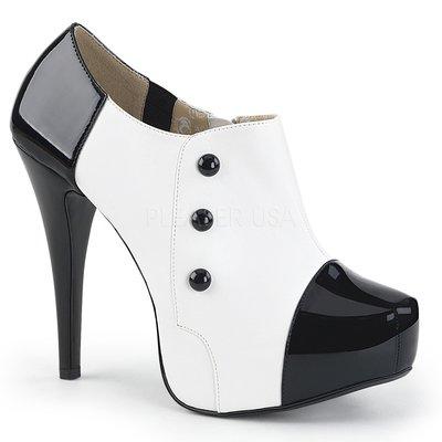 Shoes InStyle《五吋》美國品牌 PINK LABEL 原廠正品漆皮厚底高跟腳踝靴大尺碼 9-16碼『黑白色』