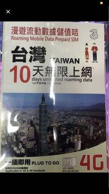 台灣10日無限上網卡