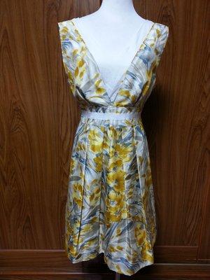 牧牧小舖~優質二手衣~RAVING精品黃色花卉絲質亮面無袖洋裝   34號
