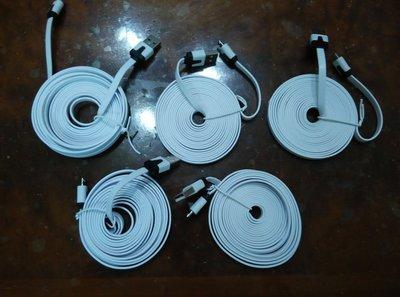【3米長度】小米 MICRO USB 白色充電線 麵條充電線 手機充電線 適合延長米家智慧攝影機高度