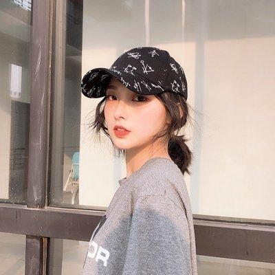 韓國個性街頭涂鴉字母棒球帽子女學生情侶百搭黑色鴨舌帽男遮陽