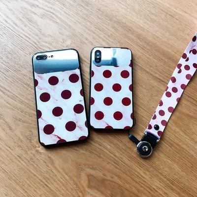 #iphone手機殼手機套ins復古波點鏡子蘋果X手機殼女款6/6s/8潮iPhone7plus掛繩iPhonex