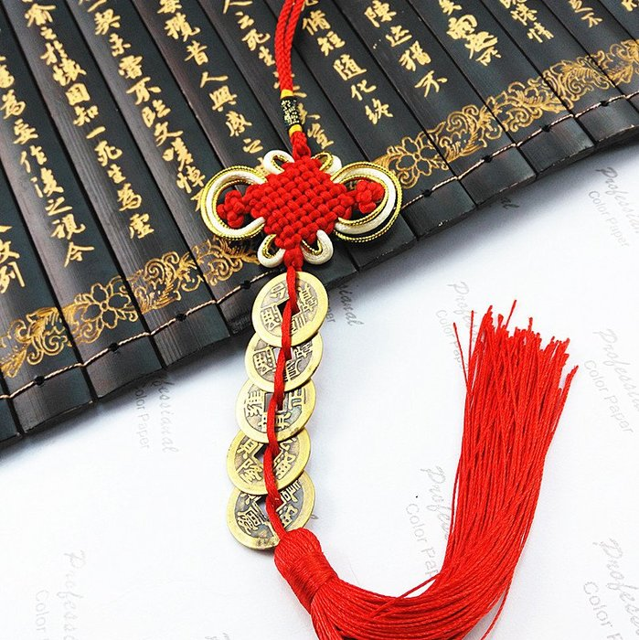 中國結五帝銅錢掛件 中國結家居招財掛件 汽車裝飾各種工藝品掛件(220元以上發貨,購買數量,規格不同價格不同