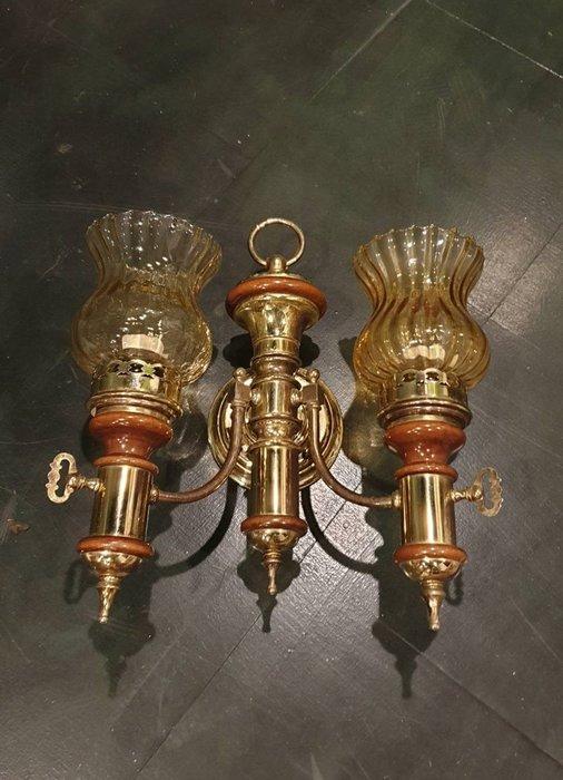 【卡卡頌  歐洲古董】🌷法國老件 琥珀色燈罩  雙燈  木雕飾 鄉村 古典  壁燈  la0294