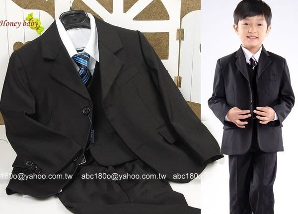 HoneyBaby~NO.576 花童套裝 男童6件式西裝外套.背心西褲.襯衫,領帶紅領結,黑色西服 36~42下標區