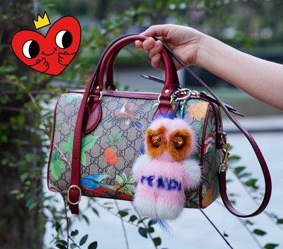 Gucci Linea A printed canvas Bag 小型 花卉波士頓包 紅皮邊