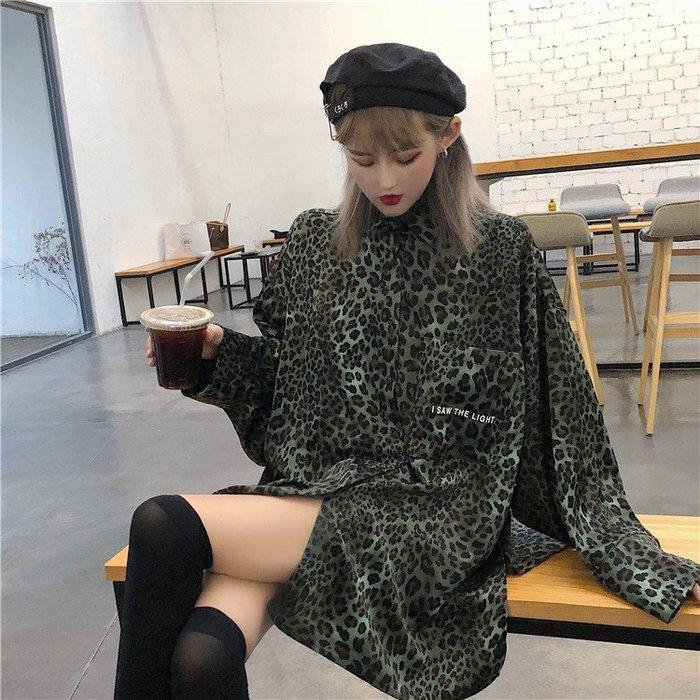 復古港味chic早秋上衣秋季新款韓版慵懶風寬鬆長袖豹紋襯衫女外套