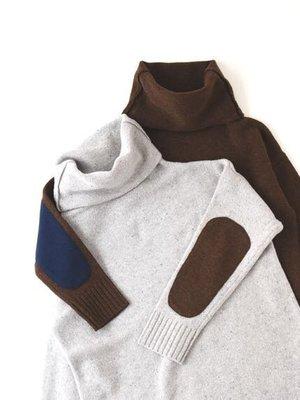 現貨 日本質感品牌 prit 可愛 補丁 紮實毛料 高領 洋裝 毛料洋裝 日本製