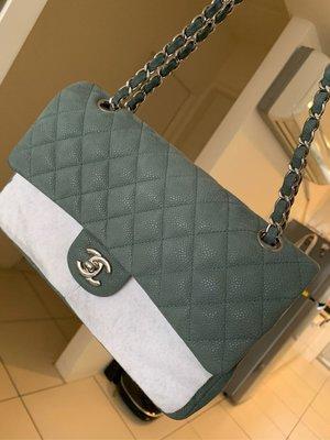 真品Chanel莫蘭迪綠色荔枝皮銀鍊coco包 牛皮CF 大全配 25公分 購證發票 台中市