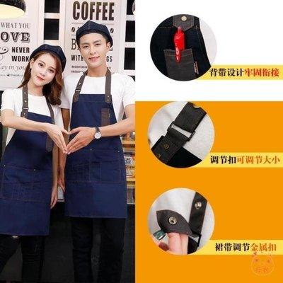 圍裙正韓時尚牛仔圍裙西餐廳酒吧咖啡烘焙畫室工作服海淘吧/海淘吧/最低價DFS0564