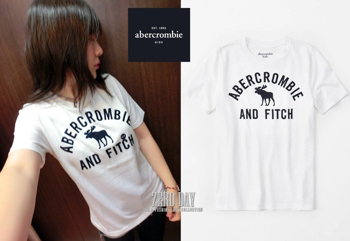 美國a&f真品abercrombie&fitch boy embroidered logo tee立體麋鹿短袖T-白色