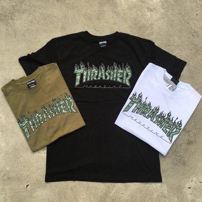 ☆LimeLight☆ THRASHER GREEN TIGER FLAME S/S TEE 虎紋 火焰 黑&白&綠