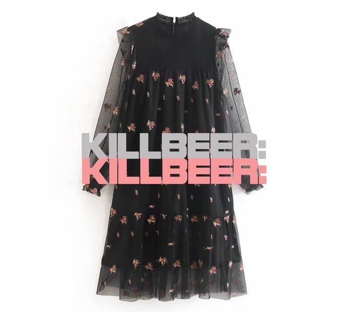 KillBeer:小姊姊等等我之 歐美復古氣質優雅小性感網紗透膚法式立體花朵刺繡荷葉小高領連身裙洋裝010807