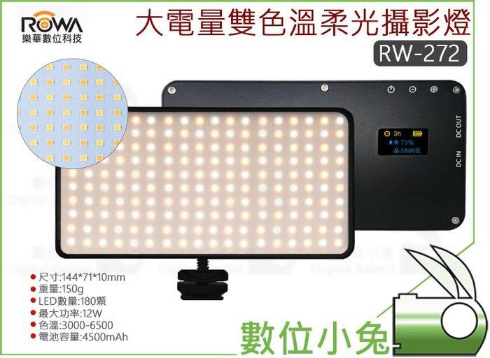 數位小兔【ROWA RW-272 大電量雙色溫柔光攝影燈】便攜 LED 直播 人像 補光燈 持續光 平板燈 補光