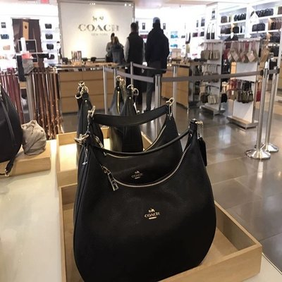 (Outlet特惠)COACH 38250 新款女士荔枝紋皮素色半月包 斜跨包 肩背手提包 附購買證明