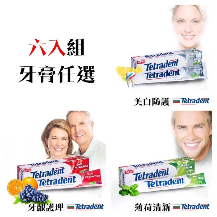六入 歐洲原裝Tetradent 美白防護/牙齦護理/薄荷清新牙膏 75ml