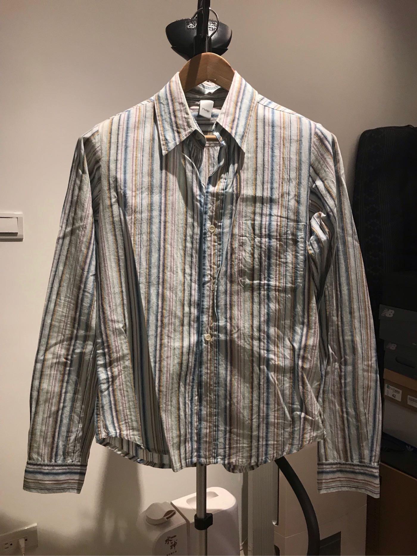 Pledge 窄身短版 條紋襯衫 Dior Hedi vintage