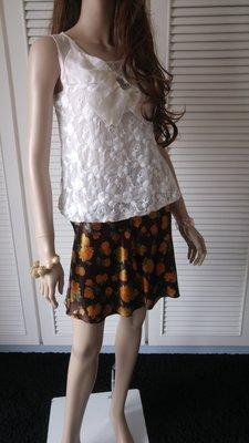 全新原價一萬多 PLEIN SUD 100%SILK 純絲棕色印花圓裙 另有黑點紅玫瑰